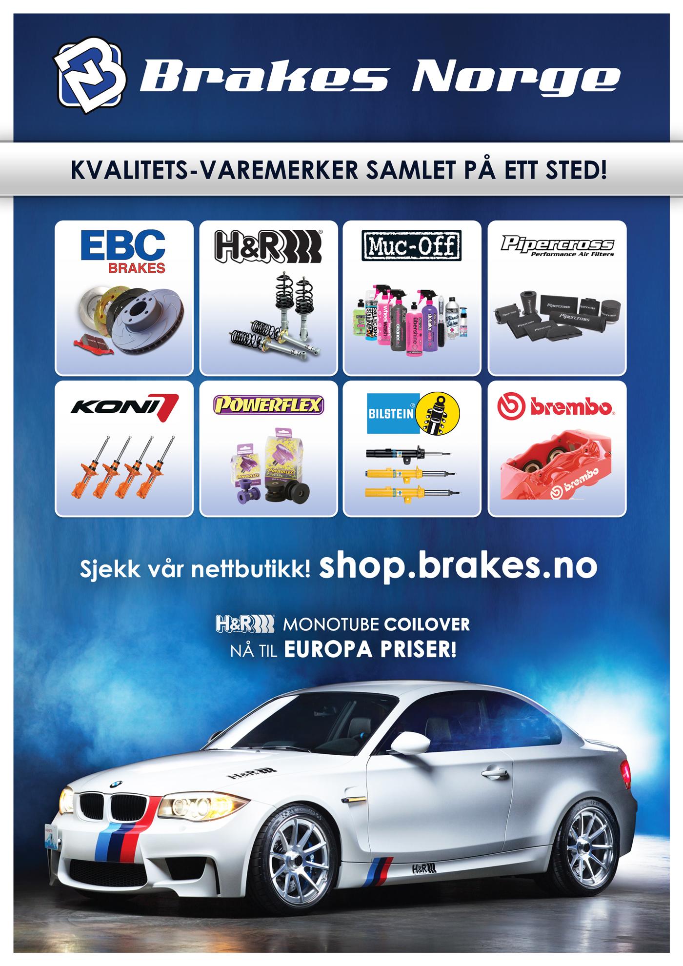 EBC Brakes, H&R, Muc-Off, Pipercross, Koni, Powerflex, Bilstein, Brembo, Brakes Norge, varemerker